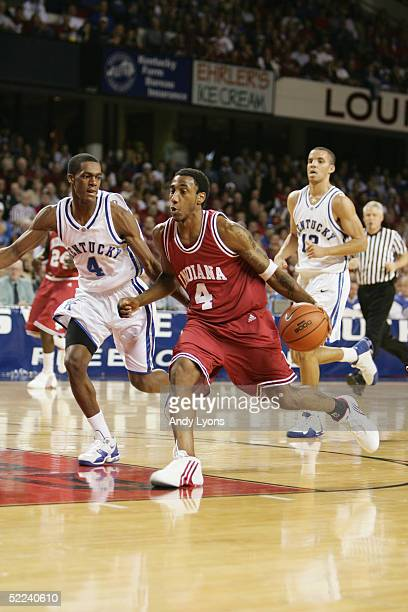 Bracey Wright of the Indiana Hoosiers moves the ball against Rajon Rondo of the Kentucky Wildcats during the game at Freedom Hall on December 11 2004...