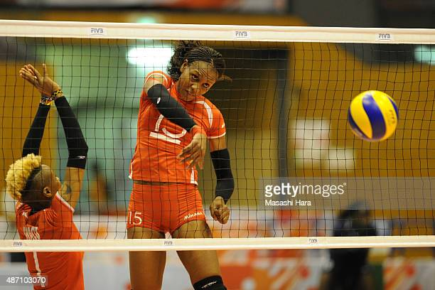 Brackcides Khadambi of Kenya spikes in warm up prior to the match between Kenya and Peru during the FIVB Women's Volleyball World Cup Japan 2015 at...