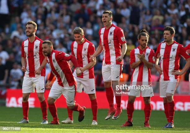 Brackley Town players celebrates the winning penalty during The Buildbase FA Trophy Final match between Brackley Town and Bromley at Wembley London...