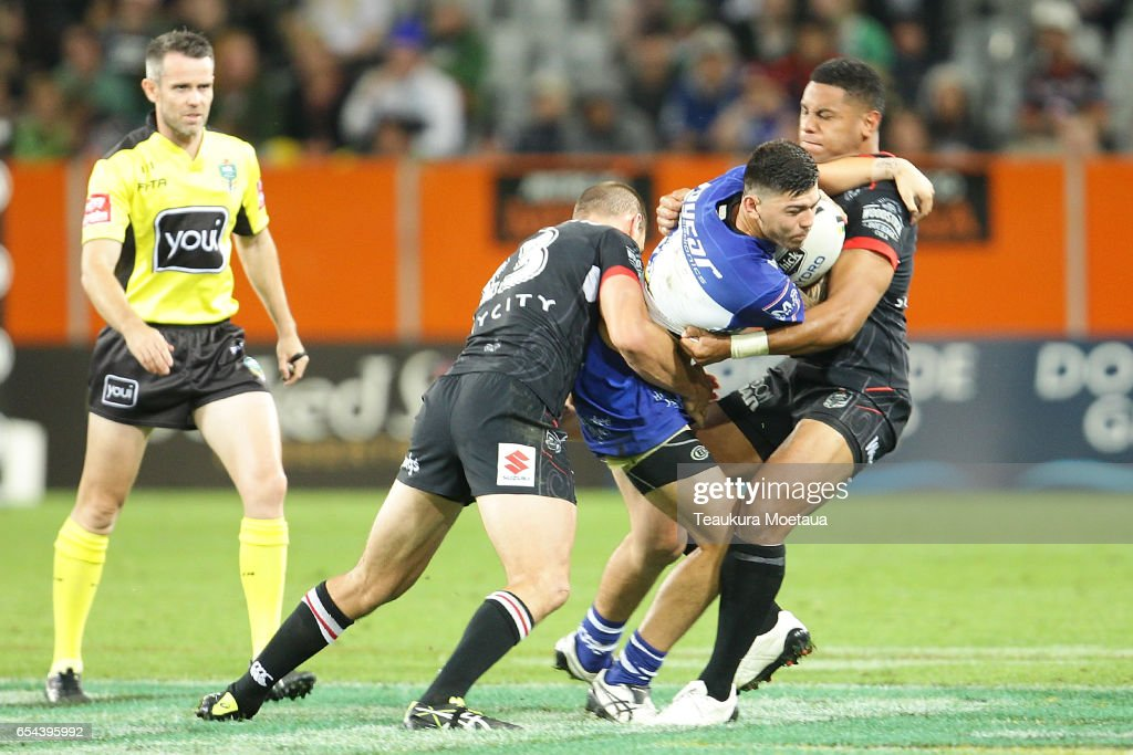 Brad Abbey of the Bulldogs is tackled during the round three NRL match between the Bulldogs and the Warriors at Forsyth Barr Stadium on March 17, 2017 in Dunedin, New Zealand.