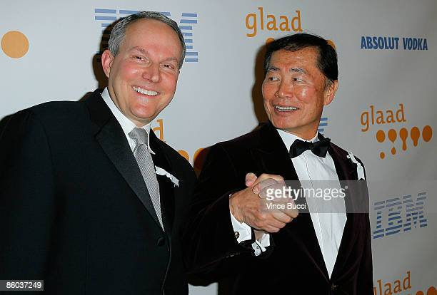 Brad Altman and actor George Takei arrive at the 20th Annual GLAAD Media Awards held at NOKIA Theatre LA LIVE on April 18 2009 in Los Angeles...
