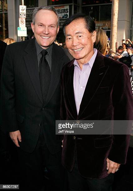Brad Altman and actor George Takei arrive on the red carpet of the Los Angeles premiere of Star Trek at the Grauman's Chinese Theater on April 30...