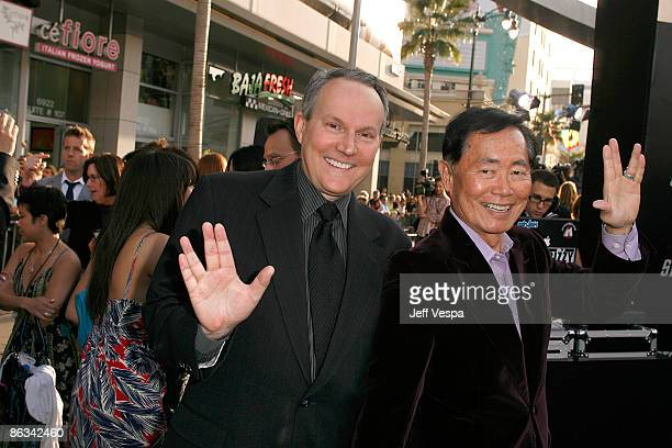 """Brad Altman and actor George Takei arrive on the red carpet of the Los Angeles premiere of """"Star Trek"""" at the Grauman's Chinese Theater on April 30,..."""