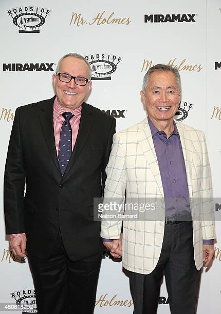 Brad Altman and George Takei attend the New York premiere of Mr Holmes at Museum of Modern Art on July 13 2015 in New York City