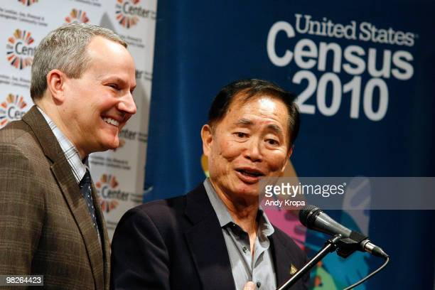 Brad Altman and husband actor George Takei attend the LGBT 2010 Census participation press conference at the LGBT Center on April 5 2010 in New York...