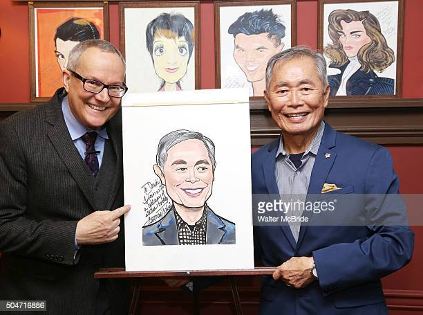 Brad Altman Takei and George Takei attend the Sardi's caricature unveiling for George Takei at Sardi's on January 12 2016 in New York City