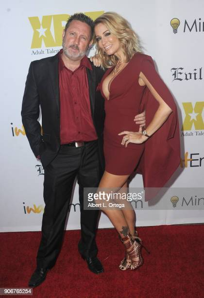 Brad Armstrong and Jessica Drake arrive for XBiz's RISE Performer Appreciation Event held at 1 Oak on November 15, 2017 in West Hollywood, California.