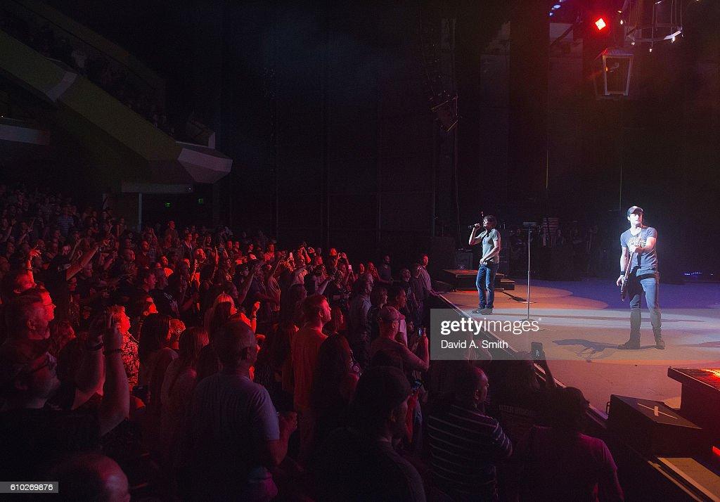 Brad Arnold and Justin Biltonen of 3 Doors Down perform at Birmingham-Jefferson Civic Center on September 24, 2016 in Birmingham, Alabama.