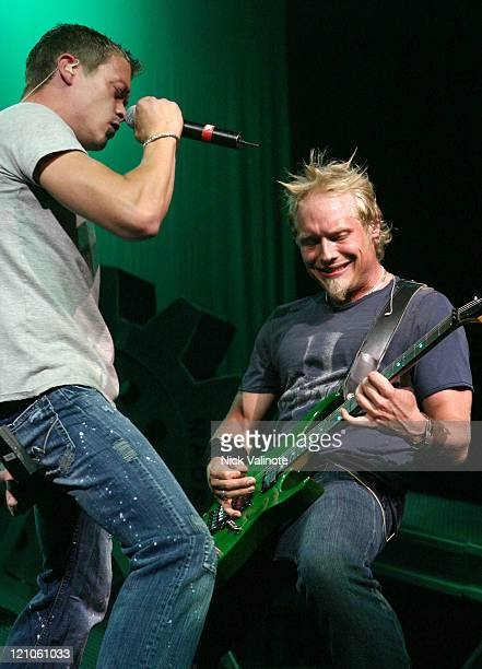 Brad Arnold and Matt Roberts of 3 Doors Down during 3 Doors Down in Concert at the Borgata in Atlantic City July 4 2005 at The Event Center in...