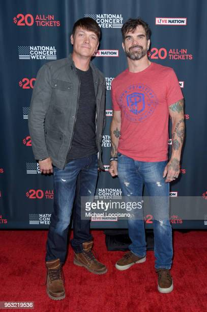 Brad Arnold and of Chris Henderson of 3 Doors Down attend Live Nation's celebration of the 4th annual National Concert Week at Live Nation on April...