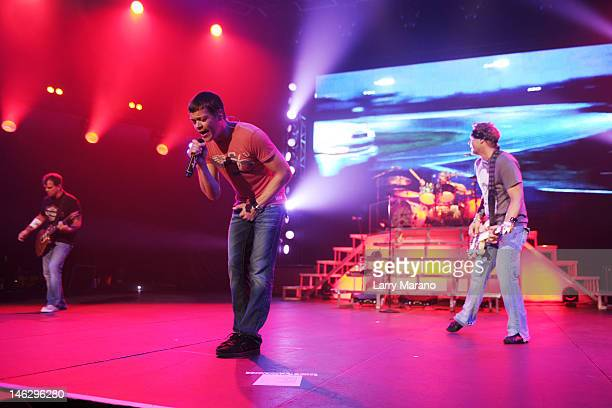Brad Arnold Matt Roberts Todd Harrell and Chris Henderson of 3 Doors Down perform at Hard Rock Live in the Seminole Hard Rock Hotel Casino on June 12...