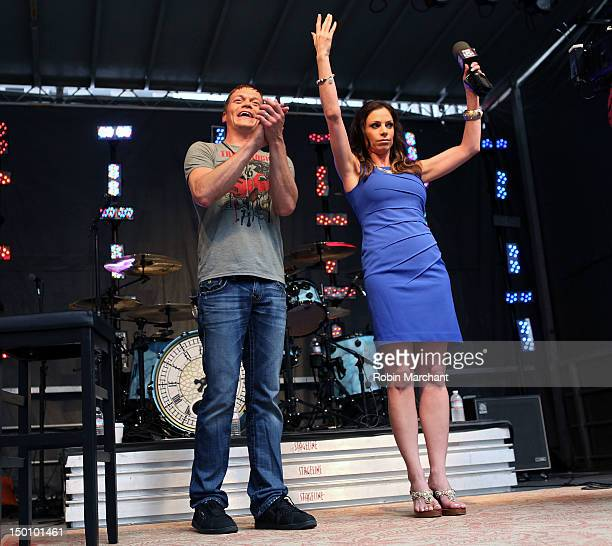 Brad Arnold of 3 Doors Down and TV personality Jill Nicolini attend FOX Friends All American Concert Series at FOX Studios on August 10 2012 in New...