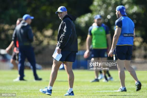 Brad Arthur head coach looks on during a Parramatta Eels NRL training session at Old Saleyards Reserve on September 6 2017 in Sydney Australia
