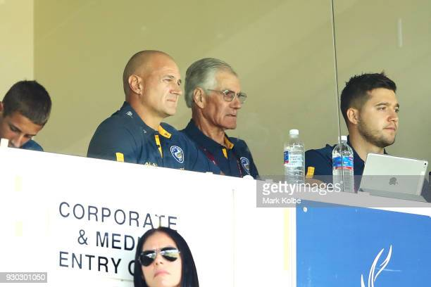 Brad Arthur the Eels head coach watches on during the round one NRL match between the Penrith Panthers and the Parramatta Eels at Panthers Stadium on...