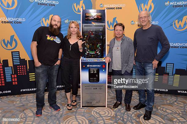 Brad Baker Actress Lea Thompson Actor Michael J Fox and Actor Christopher Lloyd attend Wizard World Comic Con Chicago 2016 Day 3 at Donald E Stephens...