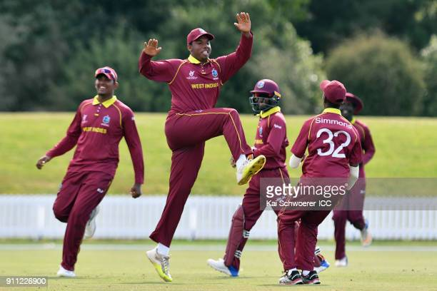 Brad Barnes of the West Indies celebrates after taking a catch to dismiss Dhananjaya Lakshan of Sri Lanka during the ICC U19 Cricket World Cup Plate...