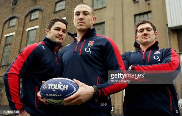 Brad Barrit Mike Brown and Alex Goode during the Launch of the O2 Touch Campaign on February 12 2013 in London England
