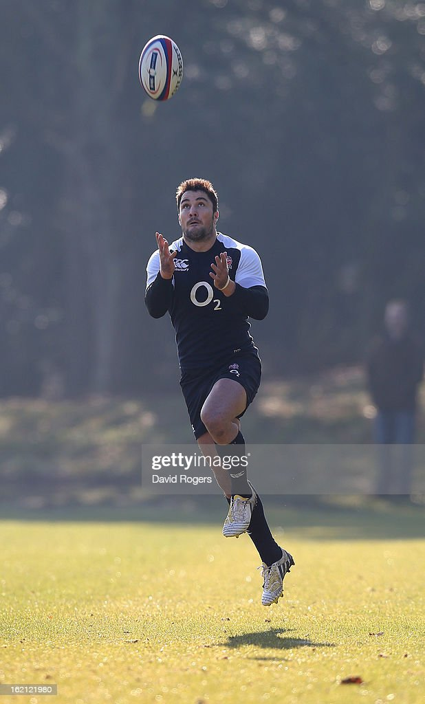 Brad Barritt catches the ball during the England training session held at Pennyhill Park on February 19, 2013 in Bagshot, England.