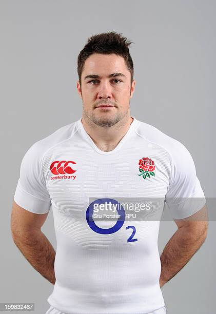 Brad Barritt of England poses for a portrait during the England rugby union squad photo call at Weetwood Hall on January 21 2013 in Leeds England