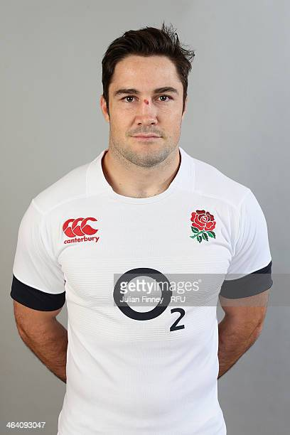 Brad Barritt of England poses for a portrait during the England Six Nations Squad Photo Call at the Penny Hill Hotel on January 20 2014 in Bagshot...