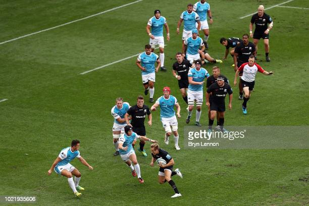 Brad Barritt of Saracens in action during the preseason match between Saracens and Ospreys at the Honourable Artillery Company on August 23 2018 in...
