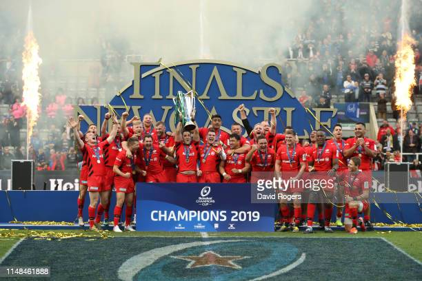 Brad Barritt of Saracens lifts the Champions Cup Trophy following the Champions Cup Final match between Saracens and Leinster at St James Park on May...