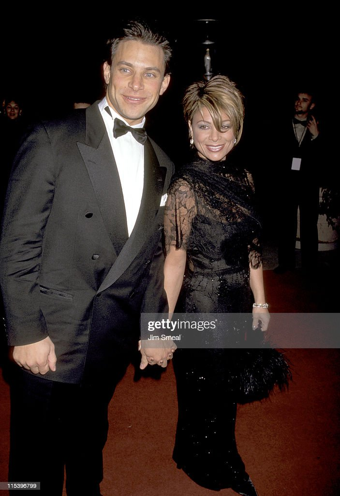 Brad Beckerman and Paula Abdul during The 38th Annual GRAMMY Awards - Arista Records Pre-GRAMMY Party at Beverly Hills Hotel in Beverly Hills, California, United States.