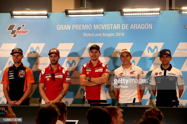 Brad Binder of Republic of South Africa and Red Bull KTM Ajo KTM Andrea Dovizioso of Italy and Ducati Team Jorge Lorenzo of Spain and Ducati Team and...