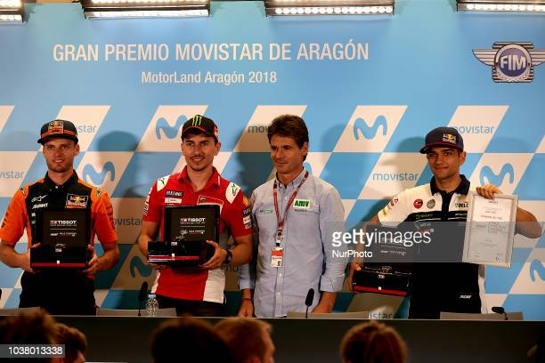 Brad Binder of Republic of South Africa and Red Bull KTM Ajo KTM Jorge Lorenzo of Spain and Ducati Team and Jorge Martin of Spain and Del Conca...