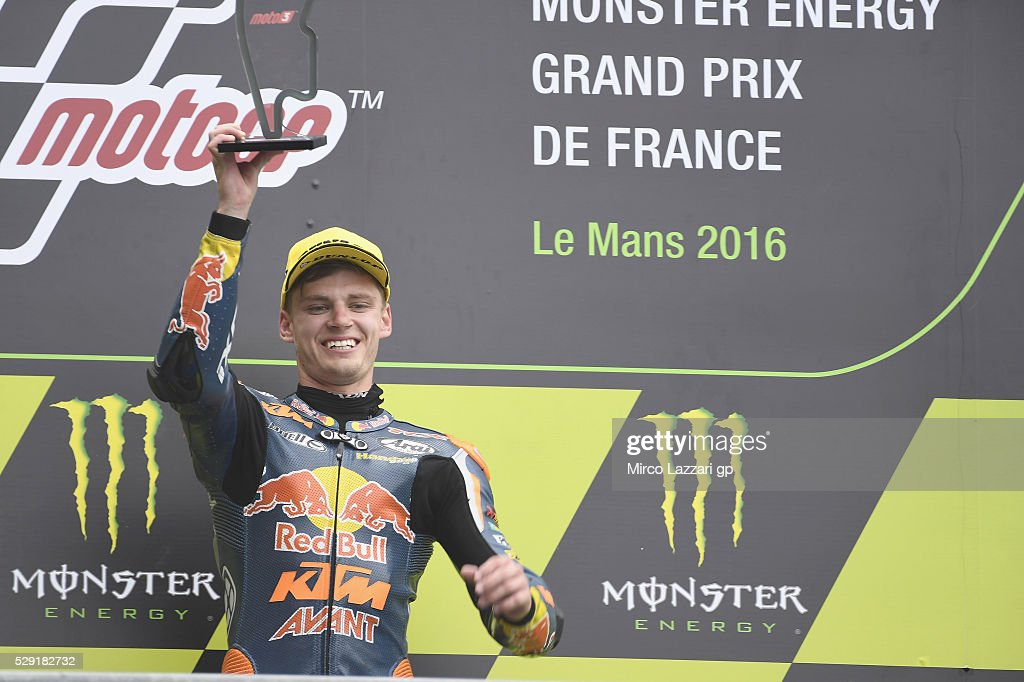 Brad Binder of South Africa and Red Bull KTM Ajo celebrates on the podium the victory at the end of the Moto3 race during the MotoGp of France - Race at on May 8, 2016 in Le Mans, France.