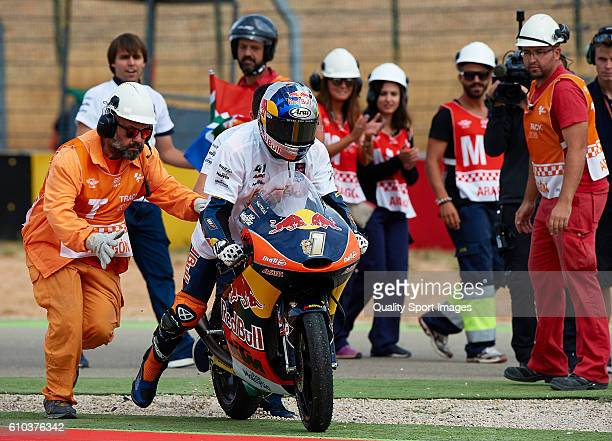 Brad Binder of South Africa and Red Bull KTM Ajo celebrates the second place at the end of the moto3 race during the MotoGP of Spain Race at...