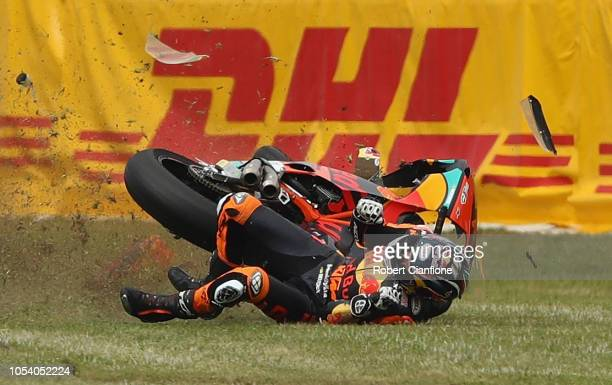 Brad Binder of South Africa and Red Bull KTM AJO crashes during the Moto2 practice session for the 2018 MotoGP of Australia at Phillip Island Grand...