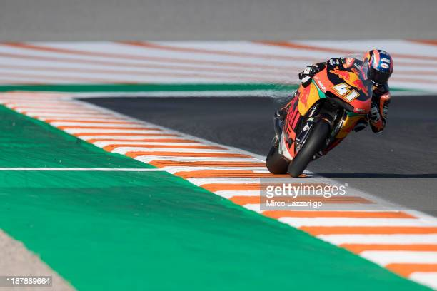Brad Binder of South Africa and Red Bull KTM Ajo heads down a straight during the MotoGP Of Valencia - Free Practice at Ricardo Tormo Circuit on...