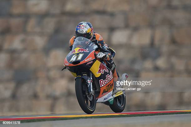 Brad Binder of South Africa and Red Bull KTM Ajo heads down a straight during the MotoGP of Spain Free Practice at Motorland Aragon Circuit on...