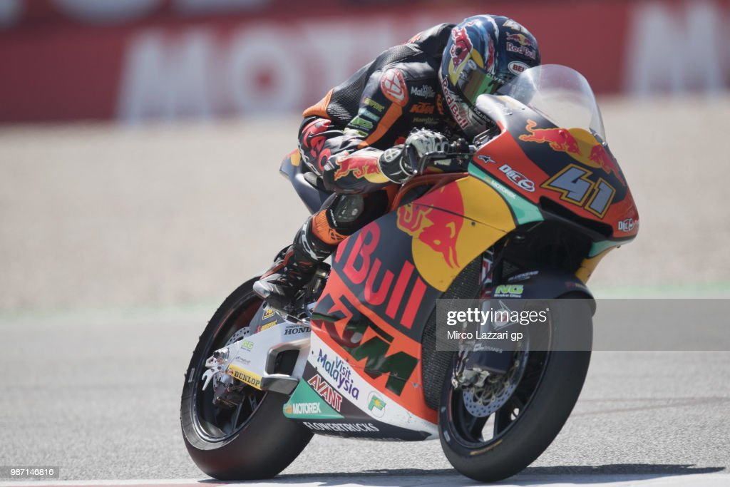 Brad Binder of South Africa and Red Bull KTM Ajo heads down a straight during the MotoGP Netherlands - Free Practice on June 29, 2018 in Assen, Netherlands.