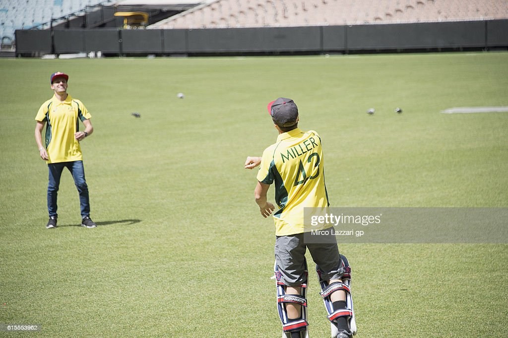 Brad Binder of South Africa and Red Bull KTM Ajo, Jack Miller of Australia and Marc VDS Racing Team (R) play during the pre-event in Melbourne Cricket Ground during the MotoGP of Australia - Pre-Event Activities on October 19, 2016 in Melbourne, Australia.