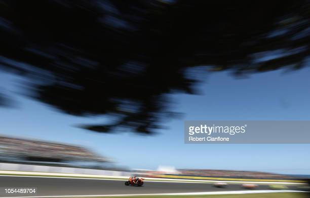 Brad Binder of South Africa and Red Bull KTM AJO leads during the Moto2 race during the 2018 MotoGP of Australia at Phillip Island Grand Prix Circuit...