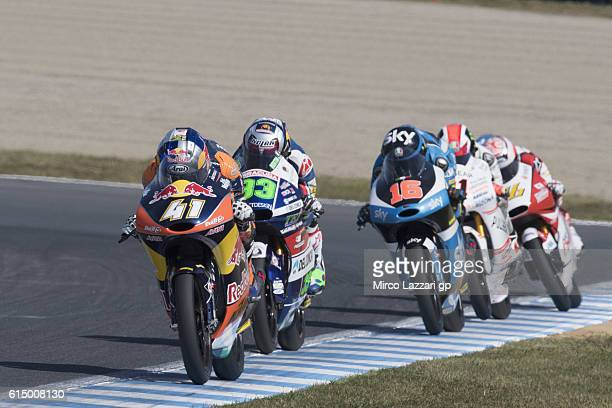 Brad Binder of South Africa and Red Bull KTM Ajo leads the field during the Moto3 race during the MotoGP of Japan at Twin Ring Motegi on October 16...