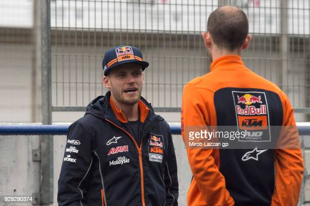 Brad Binder of South Africa and Red Bull KTM Ajo looks on in pit during the Moto2 Moto3 Tests In Jerez at Circuito de Jerez on March 8 2018 in Jerez...