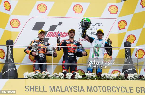 Brad Binder of South Africa and Red Bull KTM Ajo Miguel Oliveira of Portugal and Red Bull KTM Ajo and Franco Morbidelli of Italy and EG 00 Marc VDS...