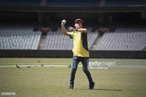 Brad Binder of South Africa and Red Bull KTM Ajo plays during the preevent in Melbourne Cricket Ground during the MotoGP of Australia PreEvent...
