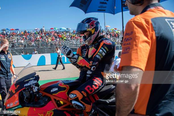 Brad Binder of South Africa and Red Bull KTM Ajo prepares to start on the grid during the Moto2 race during the MotoGP of Aragon Race at Motorland...