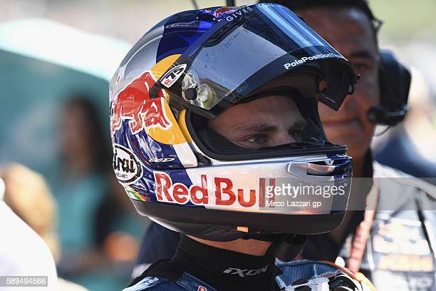 Brad Binder of South Africa and Red Bull KTM Ajo prepares to start on the grid of the Moto3 race during the MotoGp of Austria Race at Red Bull Ring...