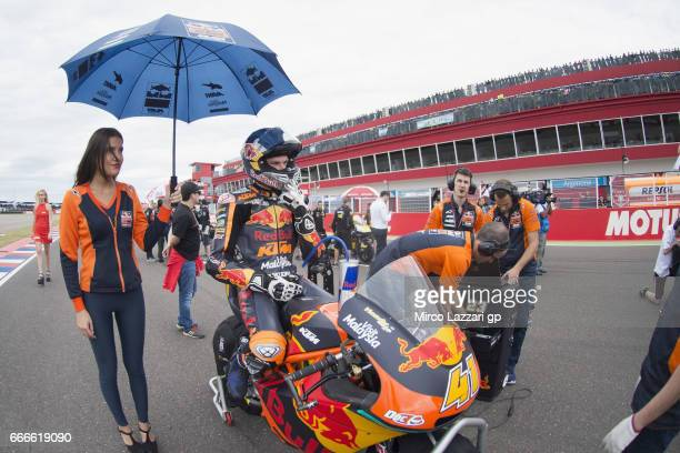 Brad Binder of South Africa and Red Bull KTM Ajo prepares to start on the grid during the Moto2 race during the MotoGp of Argentina Race on April 9...