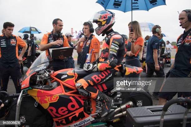 Brad Binder of South Africa and Red Bull KTM Ajo prepares to start on the grid during the Moto2 race during the MotoGp of Argentina Race on April 8...
