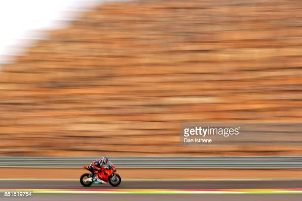 Brad Binder of South Africa and Red Bull KTM Ajo rides during Moto2 practice ahead of the MotoGP of Aragon at Motorland Aragon Circuit on September...