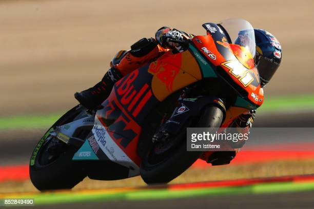 Brad Binder of South Africa and Red Bull KTM Ajo rides during Moto2 warmup before the MotoGP of Aragon at Motorland Aragon Circuit on September 24...