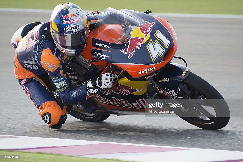 Brad Binder of South Africa and Red Bull KTM Ajo rounds the bend during Moto2 And Moto 3 Tests at Losail Circuit on March 11, 2016 in Doha, Qatar.