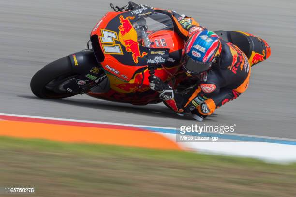 Brad Binder of South Africa and Red Bull KTM Ajo rounds the bend during the MotoGp of Czech Republic - Free Practice at Brno Circuit on August 02,...