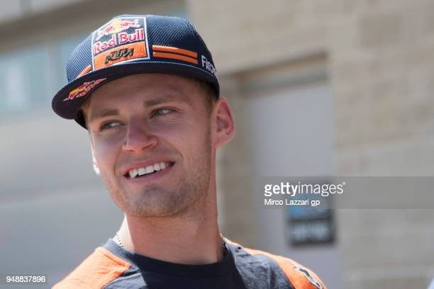 Brad Binder of South Africa and Red Bull KTM Ajo smiles in paddock during the MotoGp Red Bull US Grand Prix of The Americas Previews at Circuit of...